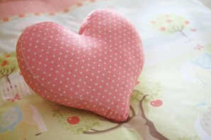 Pony Pink Polka Dot Heart Cushion