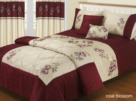 Rose Blossom Wine & Ivory Duvet Cover Set Single