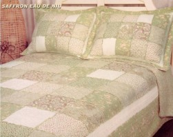 Saffron Eau De Nil Patchwork King Size Bedspread