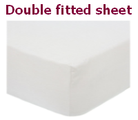White polycotton percale double fitted sheet