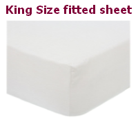 King size white polycotton percale fitted sheet