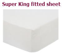 White super king polyctton percale fitted sheet